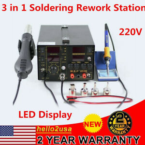 853d 3in1 5a Smd Solder Rework Station Iron Hot Air Gun Dc Power Supply 4 nozzle