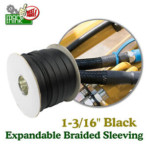 Expandable Braided Cable Sleeving Wiring Tubing 30mm Black Heavy Duty Size Lot