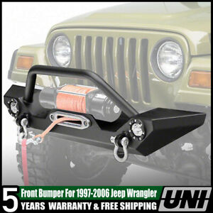 For 1997 2006 Jeep Wrangler Tj Textured Black Front Bumper With 2pc 2w Led Light