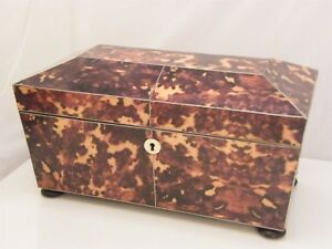 Superb Large Double Faux Tortoiseshell Tea Caddy With Caddies Mix Bowl