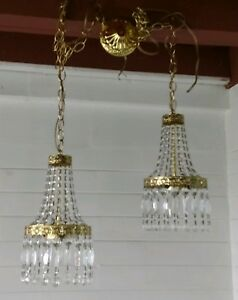 Pair Of Vintage French Basket Swag Style Brass Crystals Chandeliers