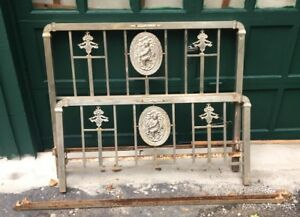 Antique Art Deco Nickel Brass Double Full Size Bed