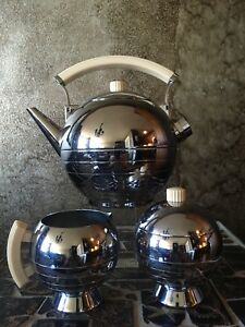 Chase Art Deco Comet Electric Teapot Set Designed By Walter Von Nesson