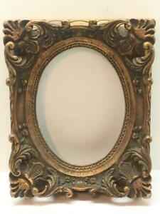 Antique Vintage Ornate Gold Gesso Picture Frame Wall Art Wood Oval Portrait