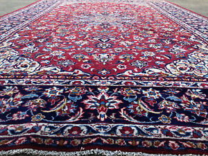10x15 Persian Rug Antique Red Blue Hand Knotted Area Rugs Woven Wool Made 10x14