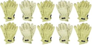 10 pairs Husky Large Water Resistant Leather Work Glove Hk86006 l