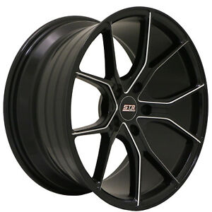 18x9 5x108 Str 602 Black Milled Made For Ford Volvo