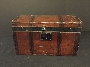 Antique Wooden Doll Trunk Dome Top Chest