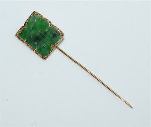 Antique Chinese 14 Kt Gold And Carved Natural Jadeite Stickpin Marked 585