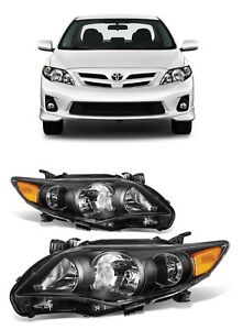 2011 2013 Toyota Corolla Black Headlights Headlamps 11 12 13 Amber Reflector Set