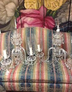 Pair Large Vintage Crystal Chandelier Wall Sconces With 4 Glass Hurricane Shades