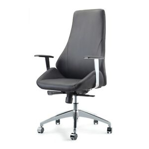 Canjun Office Chair Chrome Aluminum Pu Black