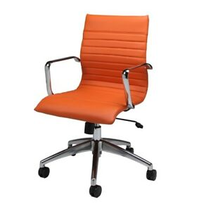 Janette Office Chair Chrome Aluminum Pu Orange