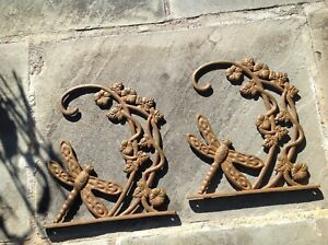 Vintage Pair Of Cast Iron Dragonfly Plant Hangers 10 X 12