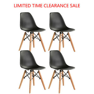 Set Of 4 Dining Chair Pre Assembled Modern Style Dsw Chair Black