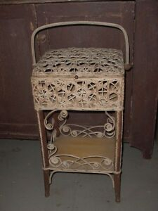Vintage Wakefield Rattan Co Sewing Stand W Basket Shelf Chicago