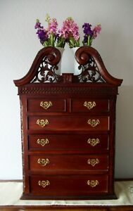 Antique Child S Dresser Salesman Sample Walnut Hand Carved Flowers Scrolls