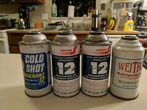 R 12 Refrigerant Lot Of 4 Factory Sealed Cans Made In Usa New From Old Stock