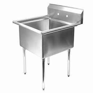 One 1 compartment Mop Sink 24 x24 Stainless Steel Restaurant Commercial Kitchen