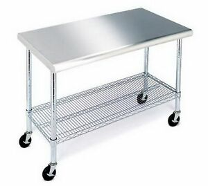 Rolling Stainless Steel Top Work Table Nsf Metal Kitchen 49 X 24 Locking Wheel