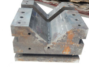 Older Large V Block Machinist Tool Jig Fixture Needs Cleaning