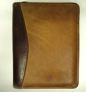 Franklin Covey Quest Planner Binder Organizer 6 Ring Distressed Brown Leather
