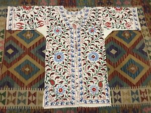 Antique Uzbek Vintage Handmade Embroidery Suzani Robe Dress Chapan Jacket Coat