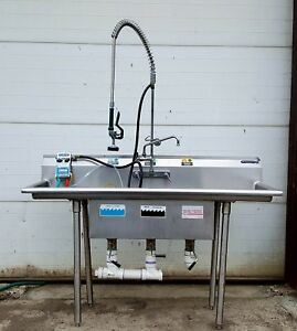 Small 60 Mini 5 3 Bay Sink T s Pre rinse Wasserstom Stainless Food Truck