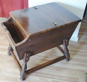 Ethan Allen Old Tavern Dough Box End Table Dark Antiqued Pine Side Colonial