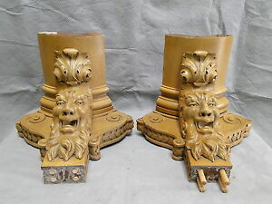 Highly Carved Fantastic Pair Of Northwind Type Open Mouth Faces Corner Brackets
