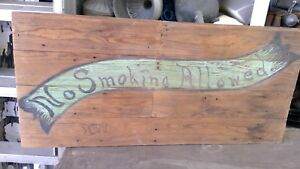 Antique Wood Hand Painted 1900 S No Smoking Sign From Texas Cotton Warehouse