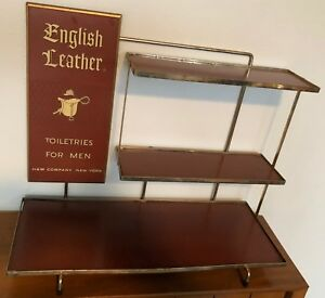 Vintage English Leather Toiletries Display Advertising Shelf Mid Century Modern