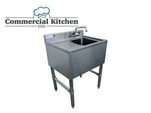 1 Bowl Underbar Sink W Left Drainboard Faucet 24 x18 3 4 Free Shipping
