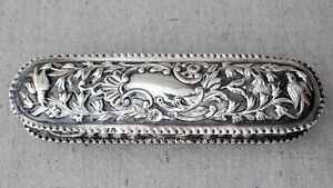 Antique Mappin Bros Repousse Sterling Silver Oval Vanity Dresser Cigar Box Birds