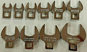Craftsman 10 Pc Inch 3 8 Drive Crowfoot Wrench Set Sae 94362 Full Polish New