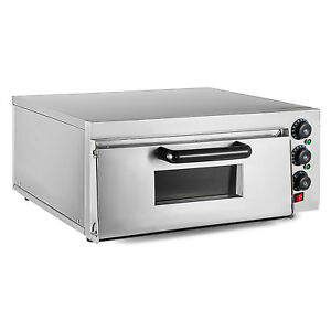 Electric 2000w Pizza Oven Single Deck Restaurant Fire Stone Stainless Steel