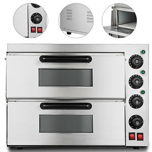 Electric 3000w Pizza Oven Double Deck Commercial Ceramic Stone Rotisserie 110v