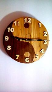 Yin Yang Wood Clock Walnut Spalted Maple Battery Operated Hand Crafted