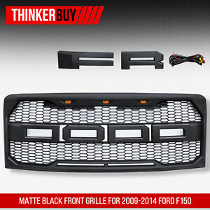 Fits For 2009 2014 Ford F 150 Sport Matte Black Raptor Style Conversion Grille