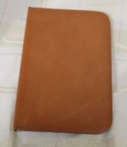 Vintage Rosston Tan Brown Cowhide Leather Zip Binder Made In Usa