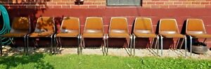 Original Set Of 8 Mcm Virco Martest Chrome Stacking Industrial Chairs