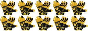10 pairs Medium Trade Master Mesh net Fabric And Leather Work Gloves