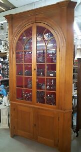 1700 S Early 1800 S Very Tall Wide Pine Wood Wavy Glass Corner Cabinet