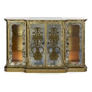 Art Deco Cabinet Server Console Sideboard French Antique Eglomis Lighted Bar