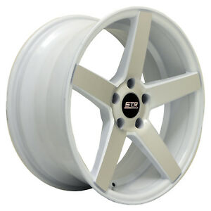 18x8 5 Str 607 White Machine Face 5x114 3 Honda Toyota Lexus Dodge Chevy