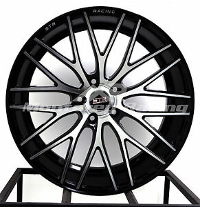 20x9 5x120 Str 615 Black Machine Face Bmw Camaro Pontiac