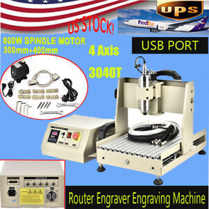 800w Usb 4 Axis Cnc3040t Router Engraver Engraving Machine Woodworking 3d Cutter