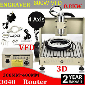 4 Axis 3040 Router Engraver Engraving Drilling Milling Machine 800w Vfd 3dcutter