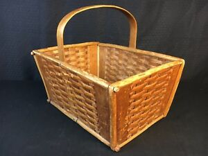Antique 1900s Gathering Basket Tagged Maker From Duluth Mn Poor House Cook Farm