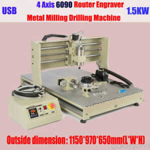 Usb 4 Axis Cnc 6090 Router Engraver 3d Milling Machine 1 5kw Spindle Vfd Usa